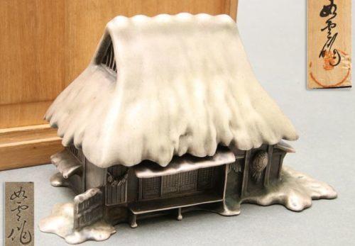 鋳金家 大島如雲作 香爐 銀製 葛屋型