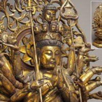 仏教美術 金彩! 木彫 千手観音像