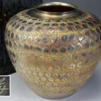 彫金美術 彫金家 信田洋造 葉茎螺旋文 純銀壷