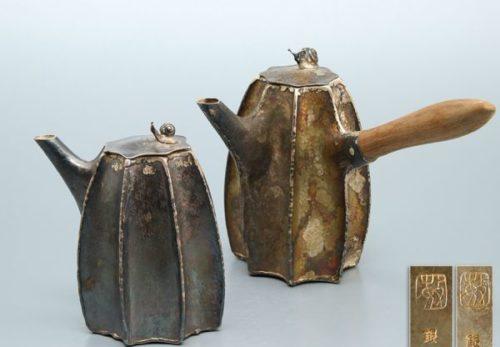 煎茶道具 銀刻 在銘 蝸牛摘蓋 急須 2点まとめて