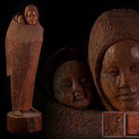 【彫刻家 瀧口政満作 希少作品一挙に出品】木彫「母と子」アイヌ彫刻