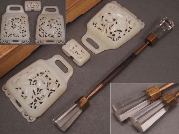 中国美術 白玉彫 獣図透細工 バックル・硝子簪