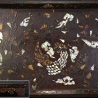 時代唐物 極上 螺鈿鼈甲装飾鳳凰図 香盆 共箱