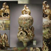 博物館級◆時代薩摩焼 羅漢図金襴手 獅子蓋龍巻大香炉