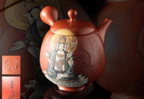 常滑名人 吉川雪堂作 壷堂刻「普賢菩薩」漢文彫朱泥彩色細密画急須