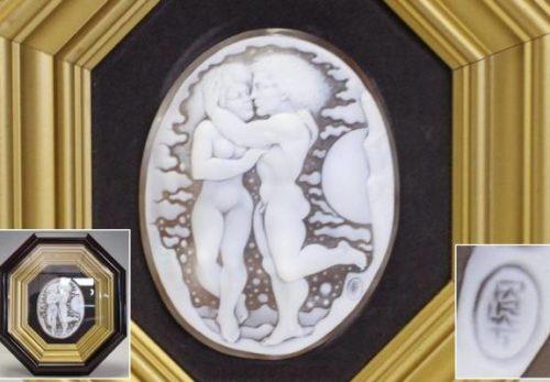 彫刻美術 カルロ・パルラーティ カメオ 額装