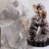 ケントチ アイヌ作 木彫 熊 置物