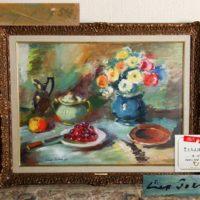 【月光荘取扱品】現代ソビエト画 スベムプ作「さくらんぼのある静物」油彩 額装 真作