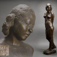 彫刻家 藤井浩祐作 ブロンズ 立つ裸婦像