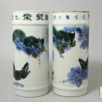 中国美術 色絵 松栗鼠図 花瓶 一対