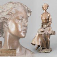 彫刻家 大道寺光弘作 ブロンズ 女性像