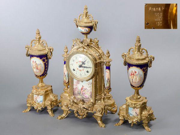 アンティーク ドイツ製 Franz Hermle フランツヘルムレ社 花柄文字盤 置時計