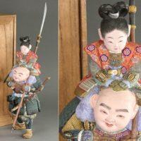 東洋彫刻 平安 御所人形師 浮舟作 木彫彩色 一橋弁慶 共箱