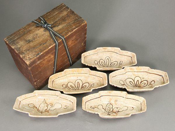 時代茶道具 織部 舟形 向附 五客 合箱