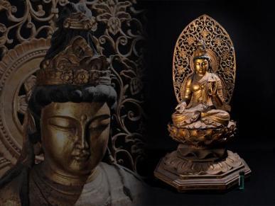 仏教美術 金彩木彫 観音菩薩坐像
