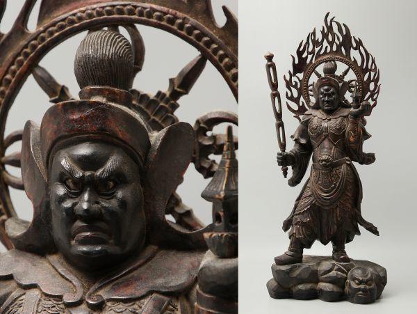 仏教美術 木彫 玉眼 四天王 多聞天