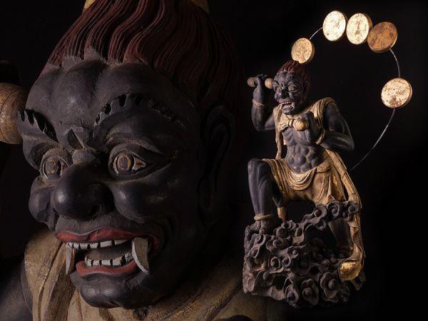 木彫 金彩色 雷神像