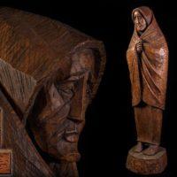【彫刻家 瀧口政満作 希少作品一挙に出品】木彫「老婆」アイヌ彫刻