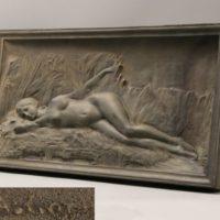 彫刻美術 在銘 ブロンズ製 裸婦像 レリーフ