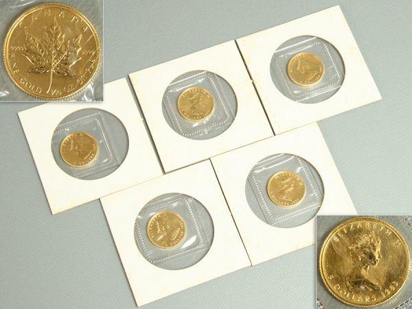 【FINE GOLD刻】カナダ エリザベス女王 メイプルリーフ 5ドル 金貨 1/10オンス 5枚セット
