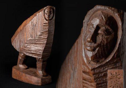 【彫刻家 瀧口政満作】木彫「吹雪(中)」アイヌ彫刻