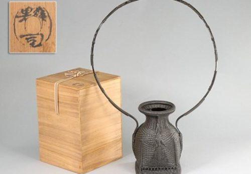 御竹細工師 和田鱗司造 唐物写篭花入 共箱