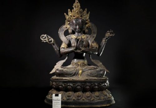 古銅 シャドゥクシャリー・アヴァローキテーシュワラ 六字観音菩薩坐像