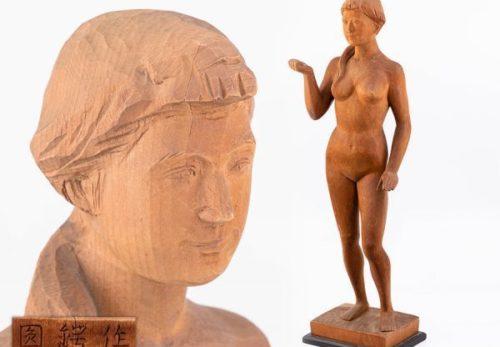 彫刻家 圓鍔勝三作 木彫 裸婦像 高さ57.0cm
