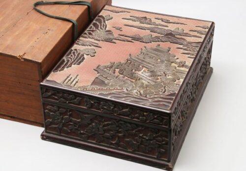 中国美術 堆黒 堆朱 山水楼閣図 文箱 / 漆芸漆器書画墨水滴文鎮筆置文房四宝