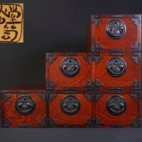 岩谷堂民芸家具 階段箪笥 たんす 欅化粧板 桐文鉄金具