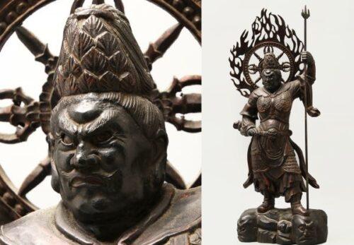 仏教美術 木彫 玉眼 四天王 増長天像 高さ75cm