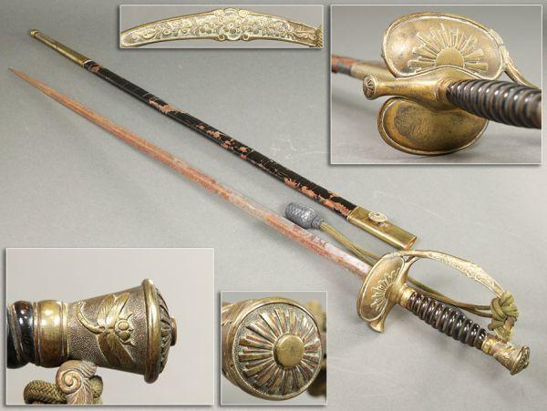 旧日本陸軍 蜻蛉剣 拵え 全長82.5cm 刀緒付属