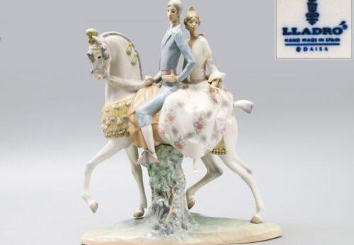 【希少品】LLADRO リヤドロ No.4648「馬に乗ったカップル」フィギュリン 高44cm