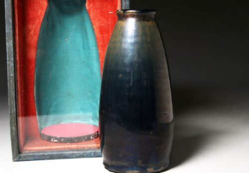 中国美術 古陶磁 黄天目 黒釉 瓶